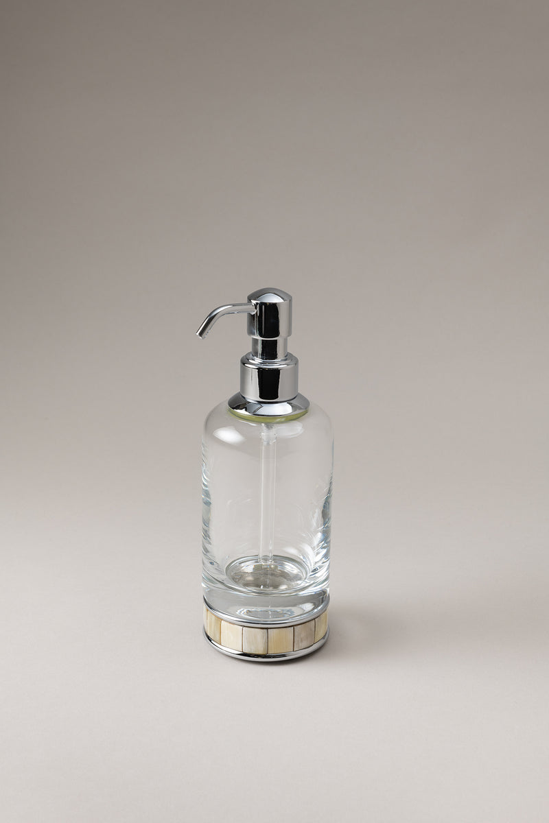 Dosatore sapone liquido vetro - Glass soap dispenser with natural material base