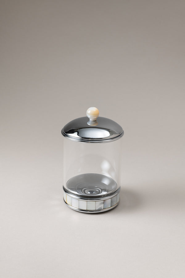 Glass toilet ear picks jar with natural material base