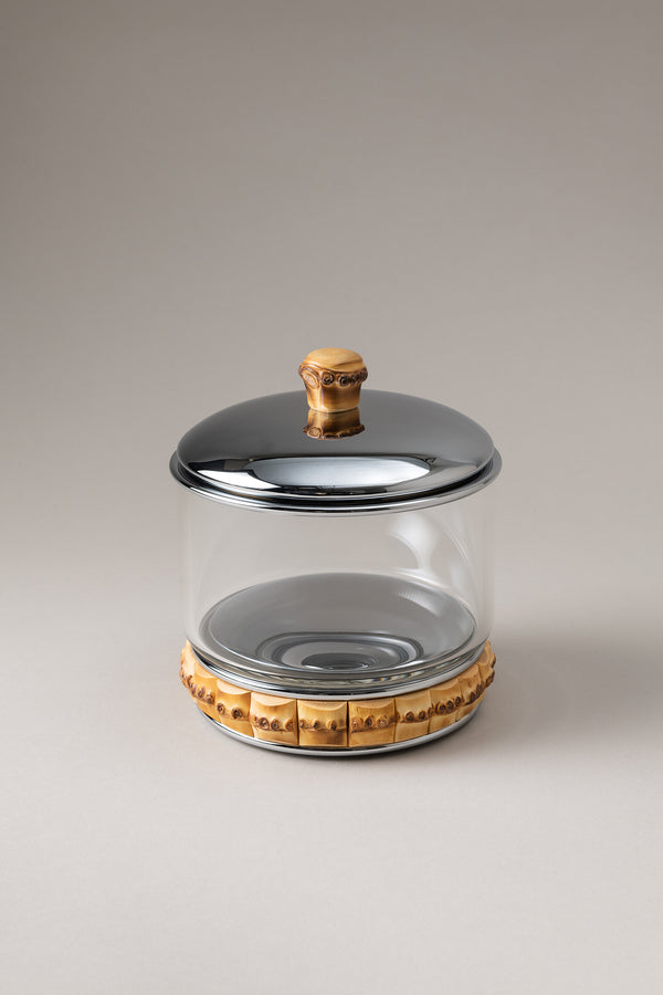 Porta cotone cilindro vetro - Glass cotton jar with natural material base