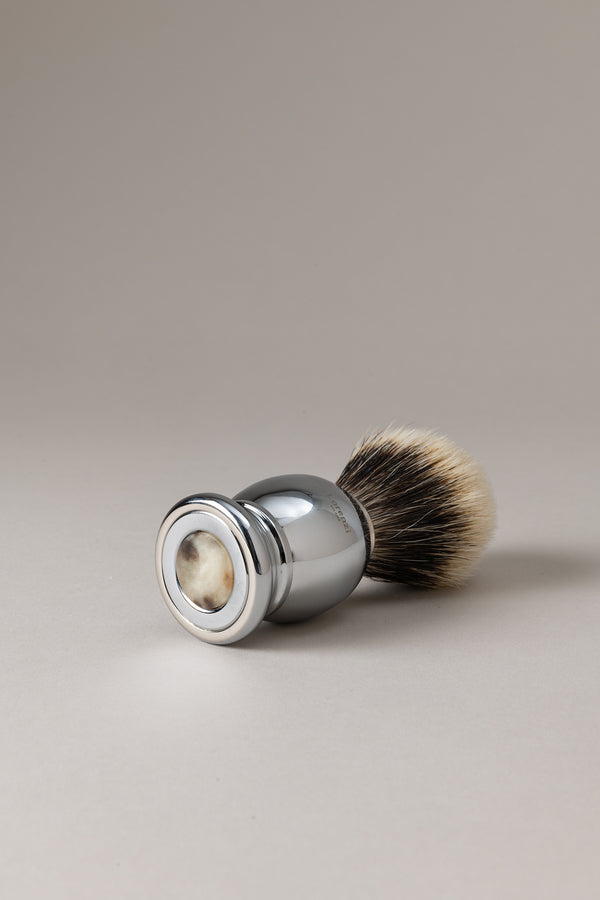 Pennello barba cromato - Zebù - Shaving brush, Zebù horn