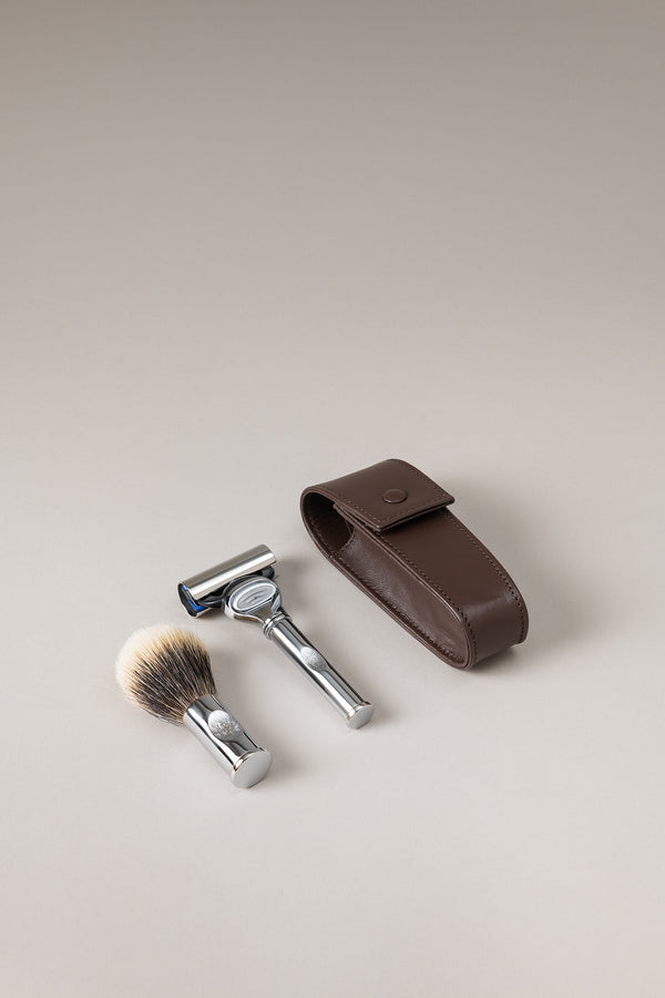Set rasoio pennello barba viaggio rotante - Shaving rotating travel set