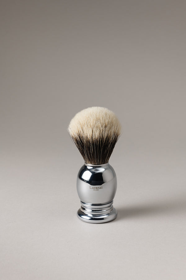 Shaving brush, Chromed brass