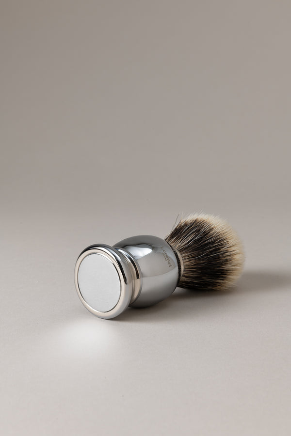 Pennello barba cromato - ottone cromato - Shaving brush, Chromed brass