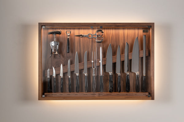 Coltelliera media con vetro - Medium cabinet wall-mounted knifes set