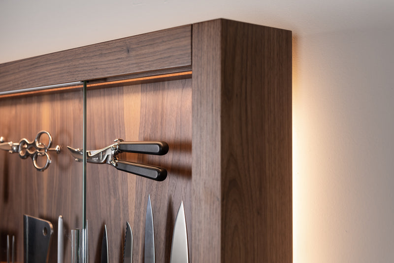 Coltelliera grande con vetro - Large cabinet wall-mounted knifes set