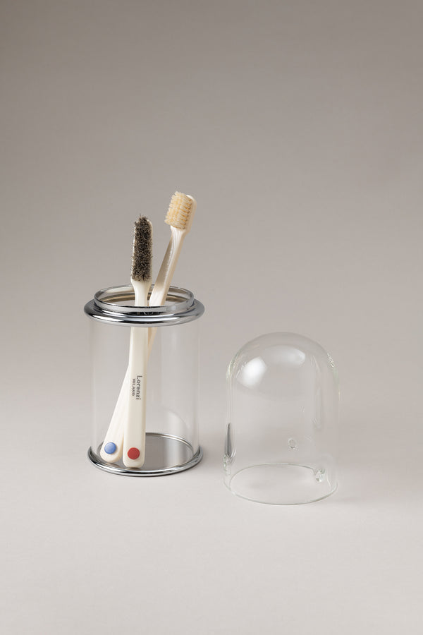 Glass toothbrush pot with glass dome