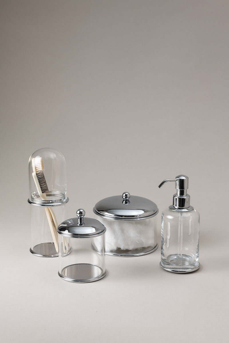 Porta spazzolini contenitore vetro con campana - Glass toothbrush pot with glass dome