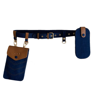 Sc1 | Zero Waste Double Belt Bag with Clip Pouches in Tan and Blue Denim