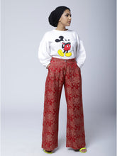 Load image into Gallery viewer, P2 | Wide Leg Pants in Red Silk Brocade