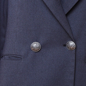 B2 | Long Double Breasted Blazer in Grey Houndstooth