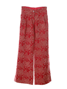 P2 | Wide Leg Pants in Red Silk Brocade