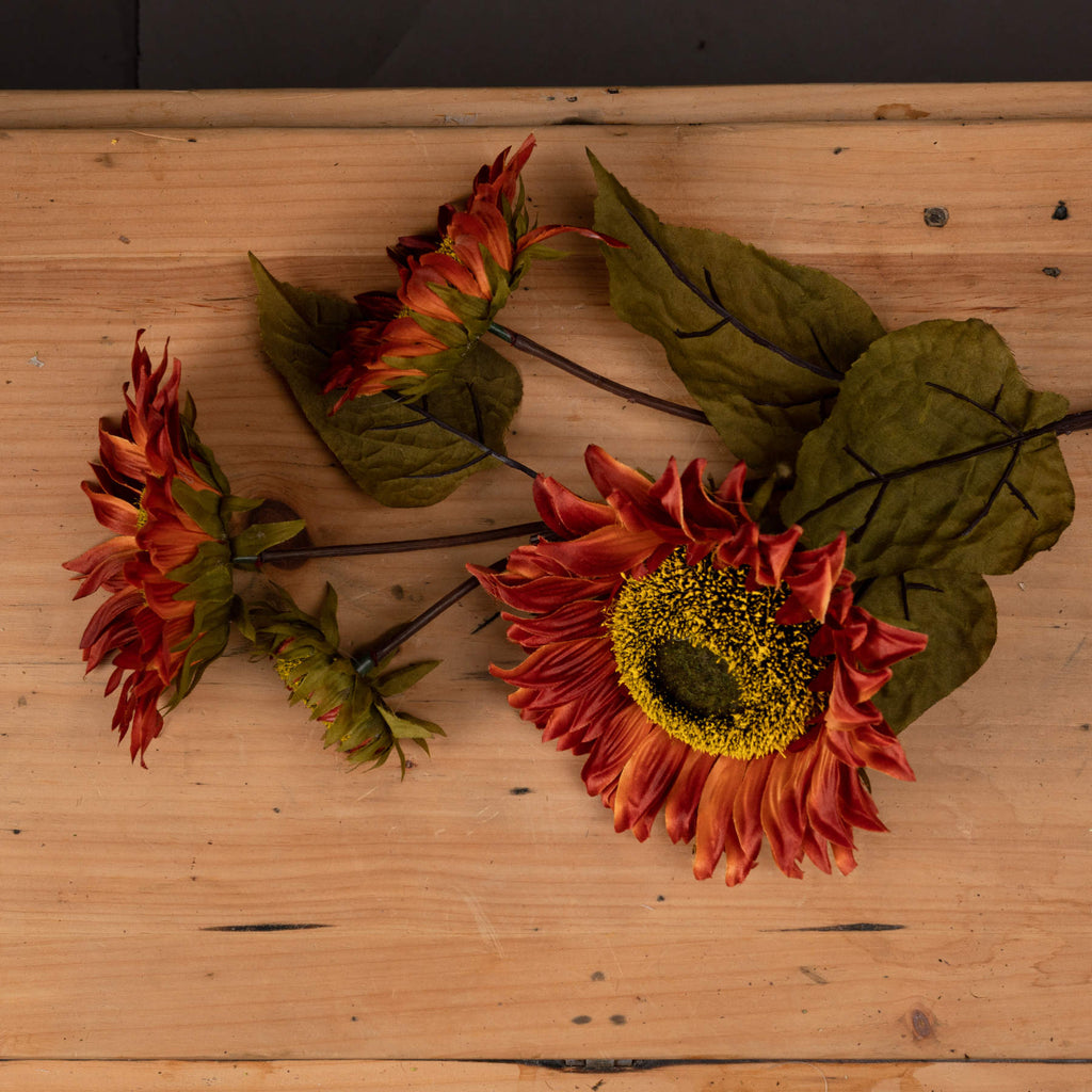 Soft Red Sunflower Spray