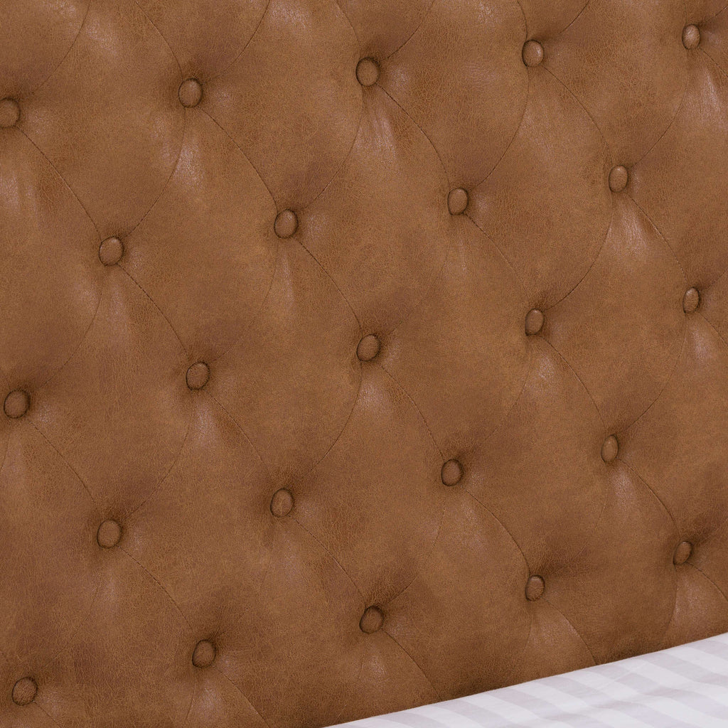 Faux Tan Leather King Size Bed