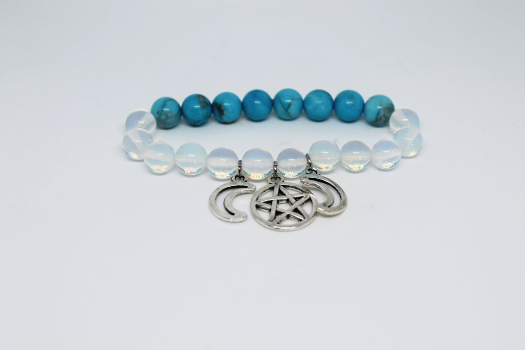 Triple Moon Opalite and Turquoise Bracelet
