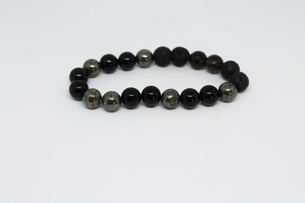 Pyrite, Onyx and Smoky Quartz Aroma Bracelet