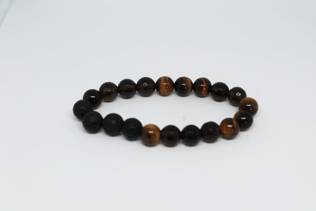 Tiger's Eye and Smokey Quartz Aroma Bracelet