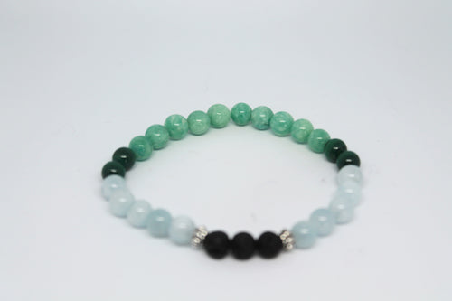 Amazonite, Malachite and Aquamarine Aroma Bracelet
