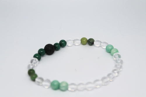 Amazonite, Malachite, Chrysoprase and Clear Quartz Aroma Bracelet