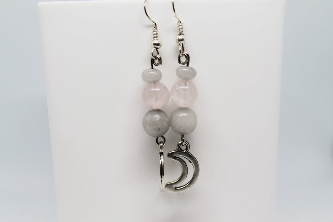Angelite & Rose Quartz Crescent Moon Earrings