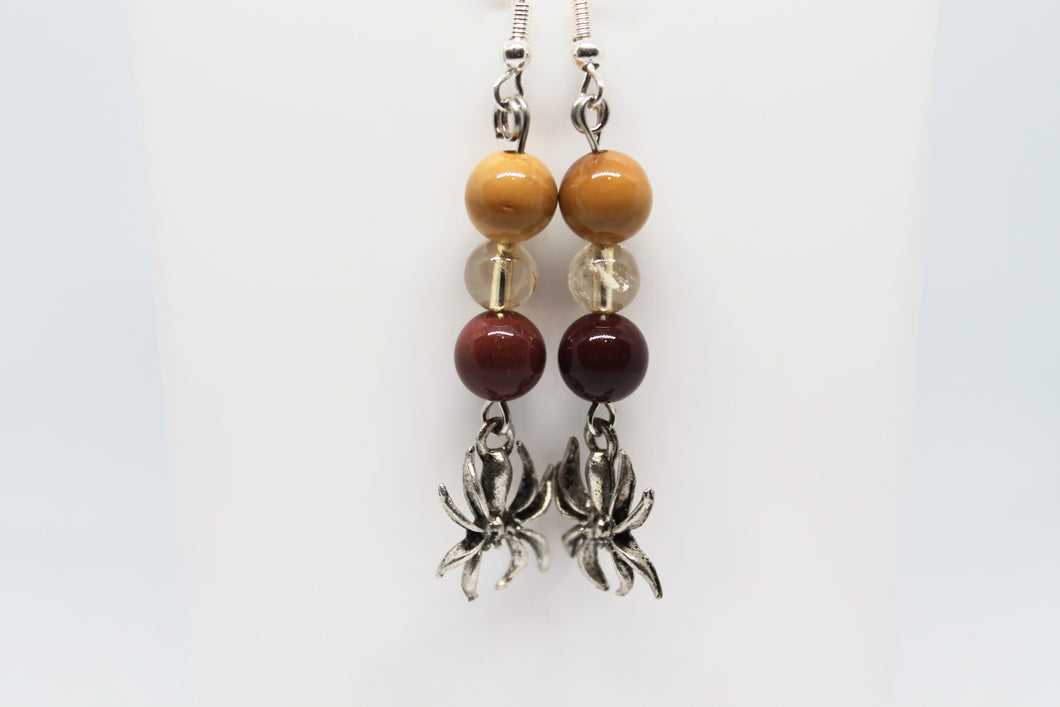 Mookaite & Citrine Spider Earrings
