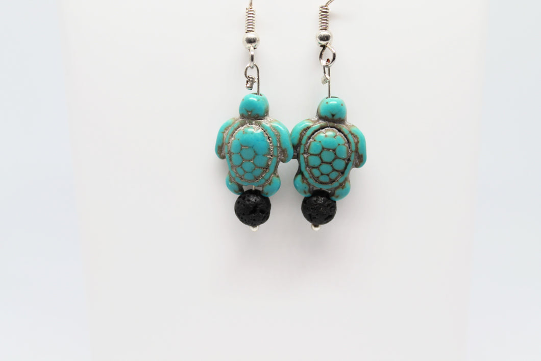 Dyed Howlite & Lava Turtle Earrings