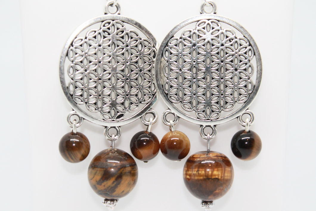 Tiger's Eye Flower of Life 925 Earrings