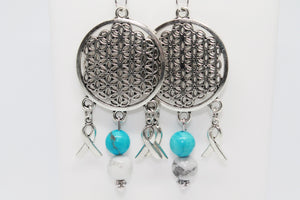 Turquoise and White Howlite Earrings