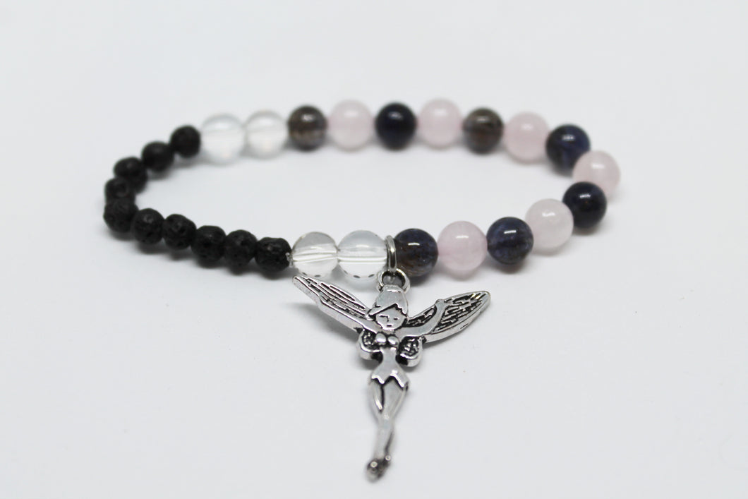 Rose Quartz, Clear Quartz and Iolite Kids Aroma Bracelet