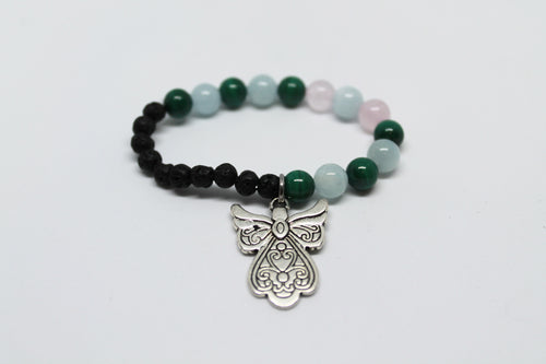 Rose Quartz, Aquamarine and Malachite Kids Bracelet
