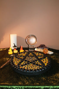 Yellow and Orange Fire Pentacle Altar Piece