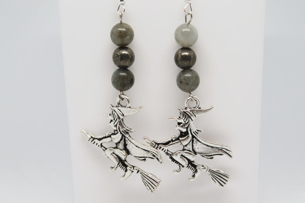 Halloween Witch and Broomstick Earrings