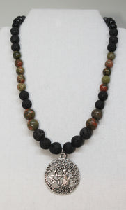 Halloween Tree of Life/ Pentacle Aroma Necklace