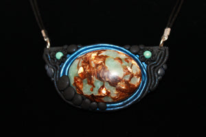 Gold Copper stone and regalite with Turquoise Bib Necklace