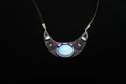 Opalite and Amethyst Crescent Moon Bib Necklace