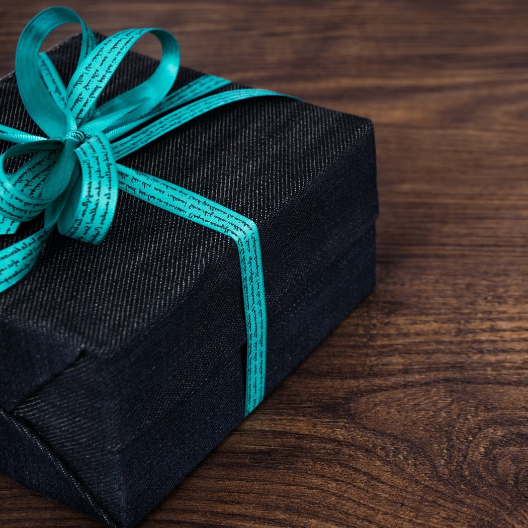 gift wrapped with blue bow