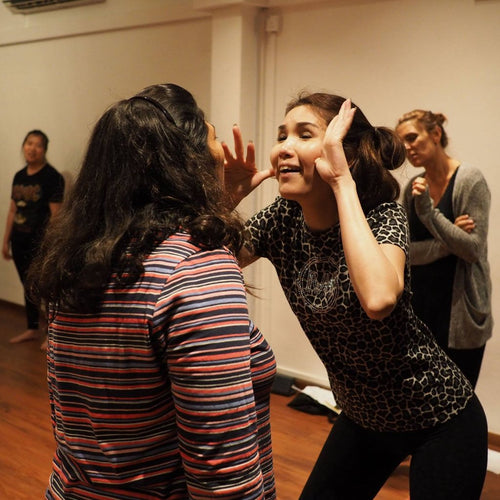 Two women in acting class