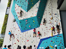 Seven people on a large rock climbing wall