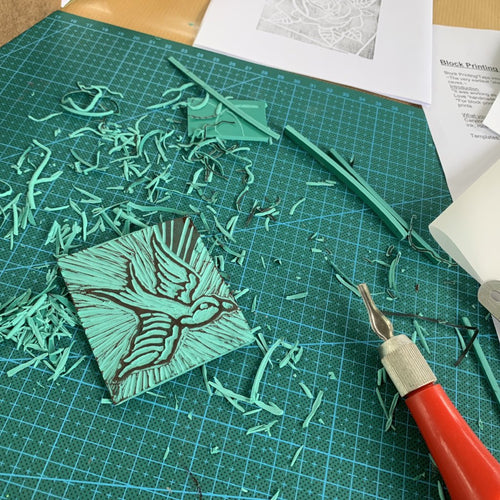 Linoleum block making workshop