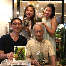 Four people holding up airplant greenwalls and terrariums