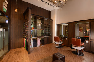 Modern interior of men's hair salon
