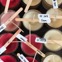 Many different coloured candles