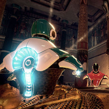 2 animated robots in an Egyptian virtual reality scene