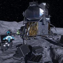 2 robots next to a space craft on the moon in a virtual reality scene