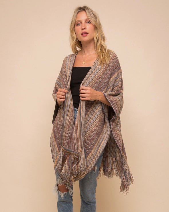 One-Size Tassel Poncho Sweater