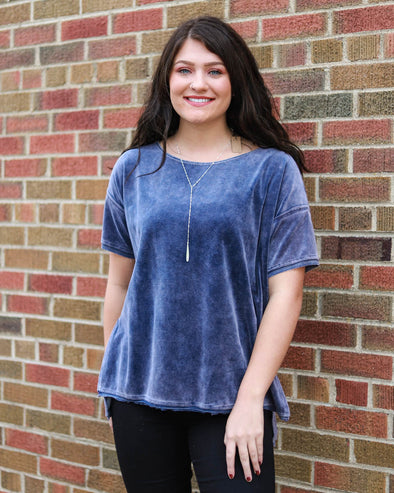 Azure Mineral Washed Velvet Top