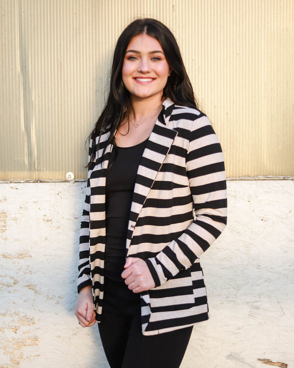 Black + Tan Striped Blazer
