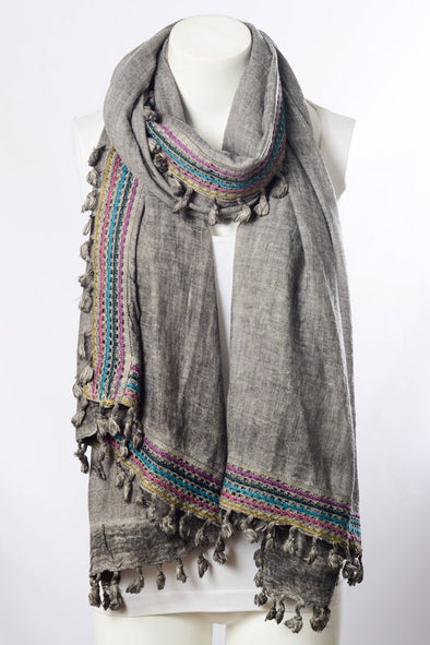 Boho Trim Lightweight Scarf