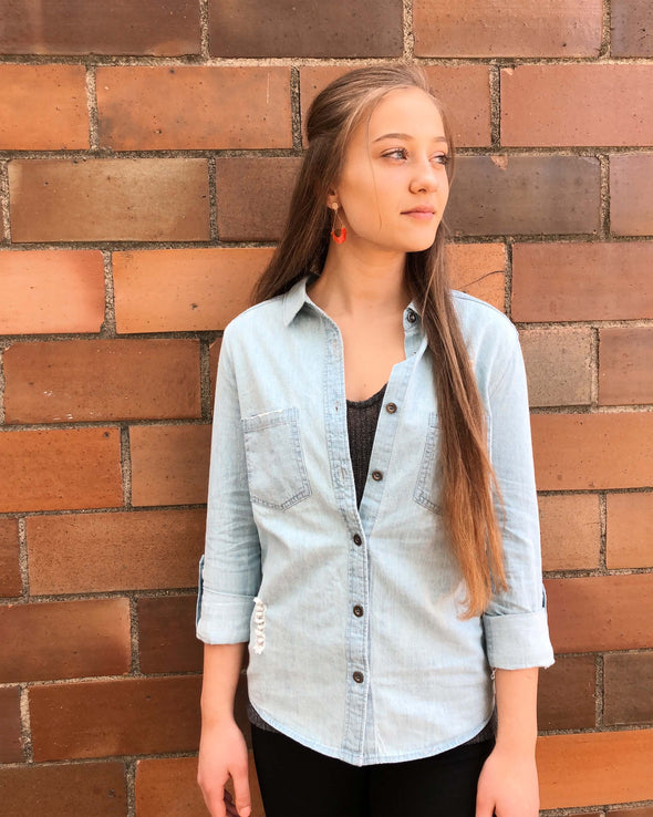 Distressed Chambray Button-Up