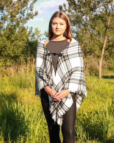Flannel Clasp Poncho