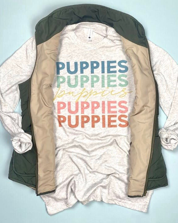 'Puppies' Long Sleeve Graphic Tee